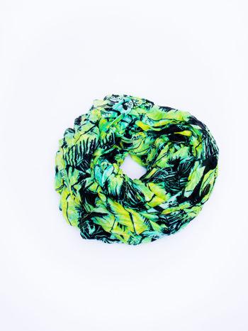Zielona chusta z palmowym motywem                                   zdj.                                  2