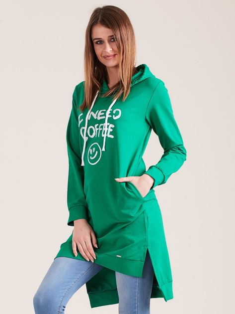 Zielona długa bluza z kapturem I NEED COFFEE                              zdj.                              3