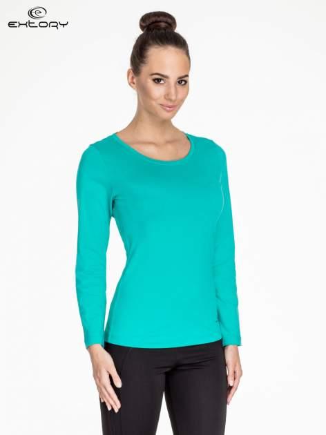 Zielona gładka bluzka sportowa z dekoltem U PLUS SIZE                                  zdj.                                  1