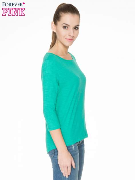 Zielona gładka bluzka z łezką z tyłu                                  zdj.                                  3
