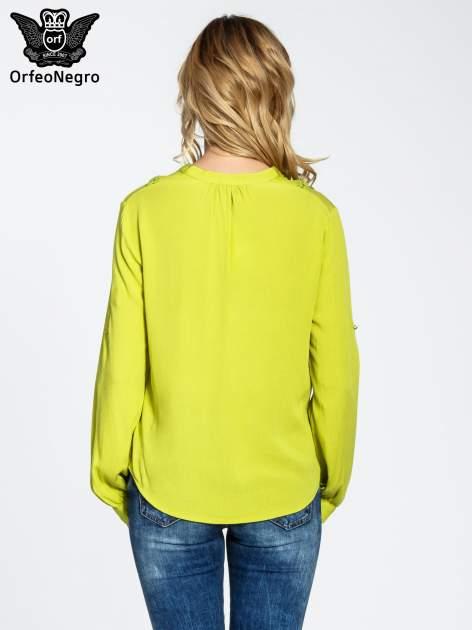 Zielona koszula z ażurowaniem na górze                                  zdj.                                  2