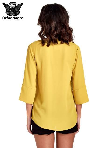 Zielona koszula z dłuższym tyłem i rękawkami 3/4                                  zdj.                                  6