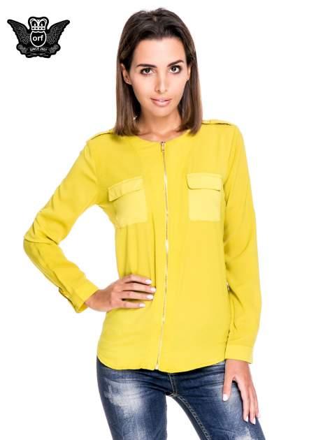 Zielona koszula ze złotym suwakiem i kieszonkami                                  zdj.                                  1