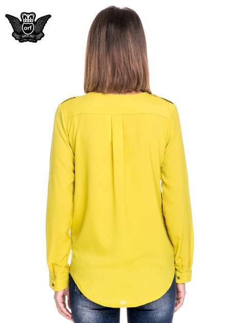 Zielona koszula ze złotym suwakiem i kieszonkami                                  zdj.                                  4