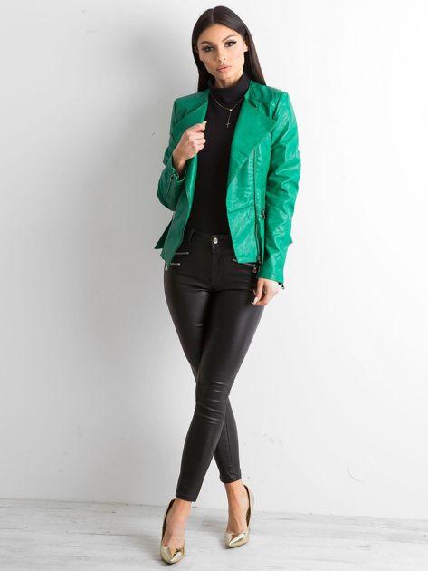 Zielona kurtka ze skóry ekologicznej                              zdj.                              4