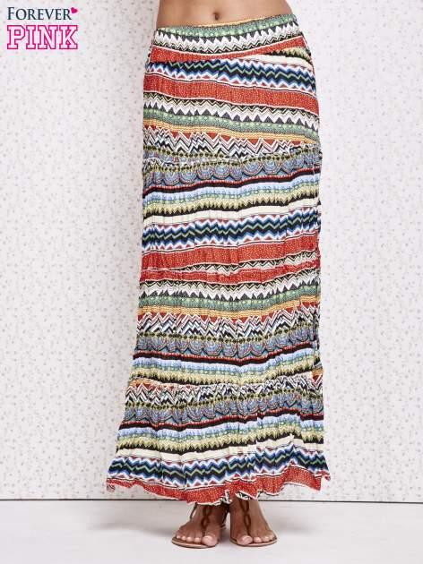 Zielona letnia spódnica maxi we wzory etno