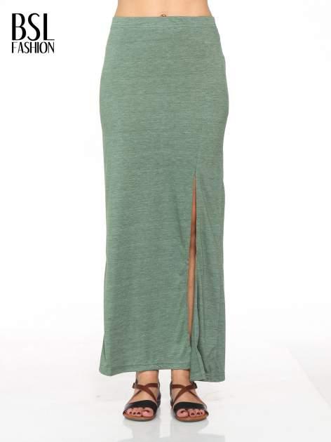 Zielona melanżowa spódnica maxi z rozcięciem                                  zdj.                                  1