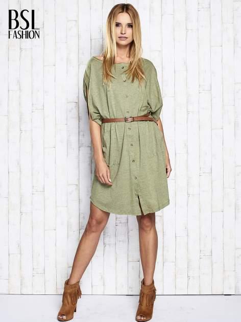 Zielona melanżowa sukienka oversize z guzikami                                  zdj.                                  2