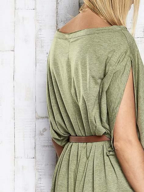 Zielona melanżowa sukienka oversize z guzikami                                  zdj.                                  7