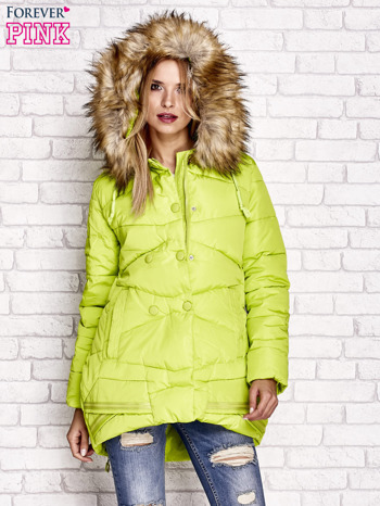 Zielona ocieplana kurtka z guzikami i suwakami                                  zdj.                                  7