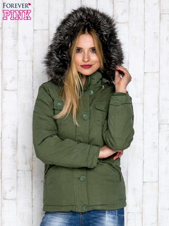 Zielona ocieplana kurtka z suwakami                                  zdj.                                  5