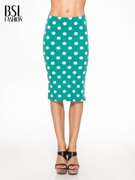 Zielona ołówkowa spódnica w groszki
