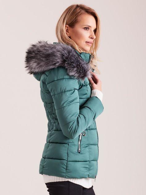 Zielona pikowana kurtka damska                              zdj.                              3