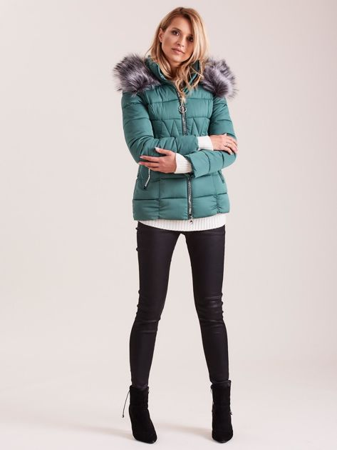 Zielona pikowana kurtka damska                              zdj.                              4
