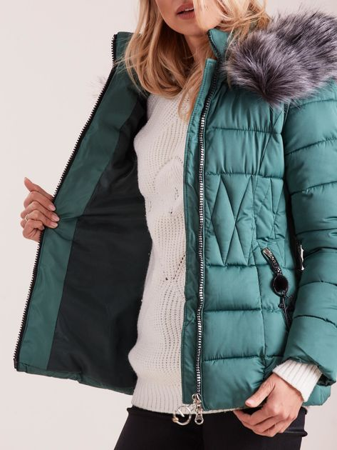 Zielona pikowana kurtka damska                              zdj.                              7