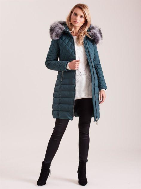 Zielona pikowana kurtka zimowa                              zdj.                              4