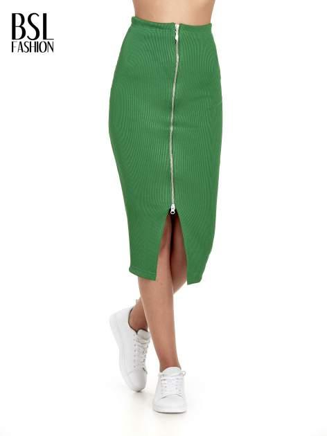 Zielona spódnica midi z suwakiem z przodu                                  zdj.                                  1