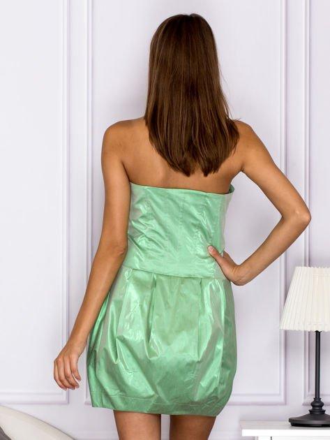 Zielona sukienka bombka z połyskiem                              zdj.                              2
