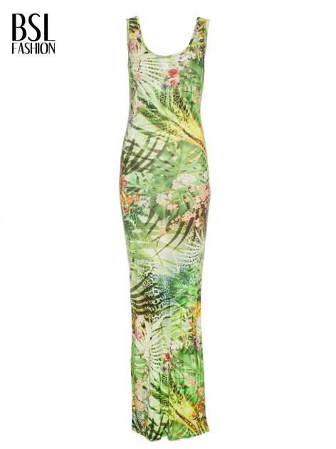 Zielona sukienka maxi w egzotyczny nadruk palm                                  zdj.                                  8