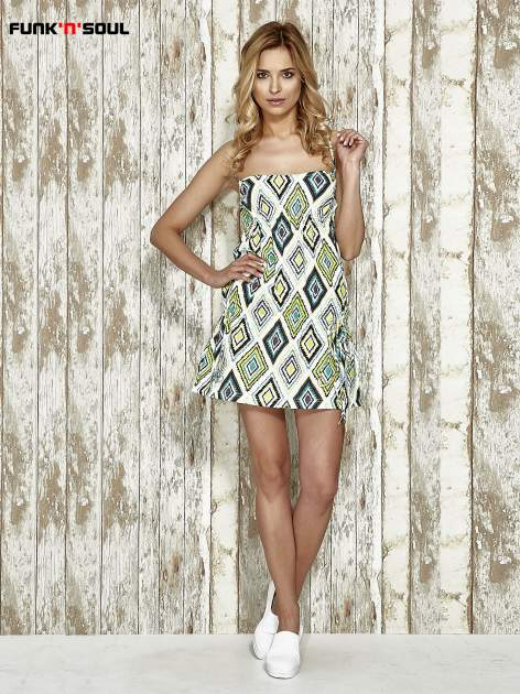 Zielona sukienka na gumkę w geometryczne wzory Funk n Soul                                  zdj.                                  6