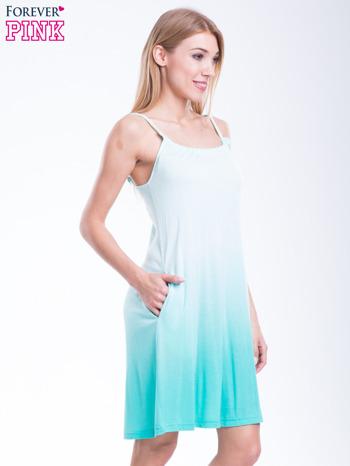 Zielona sukienka na ramiączka z efektem ombre                                  zdj.                                  2