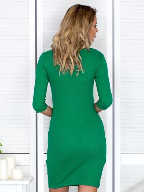 Zielona sznurowana sukienka w prążek                              zdj.                              2