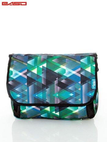 Zielona torba na ramię w graficzne wzory