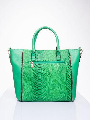 Zielona torba shopper bag z wzorem skóry węża                                  zdj.                                  2