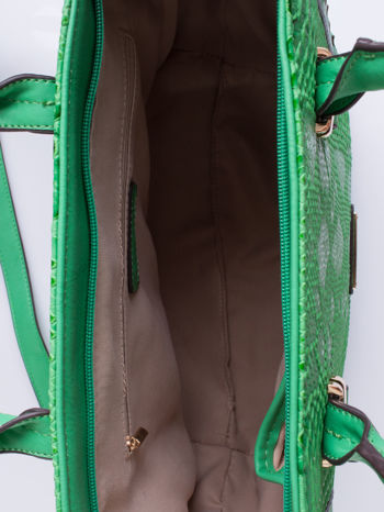 Zielona torba shopper bag z wzorem skóry węża                                  zdj.                                  4