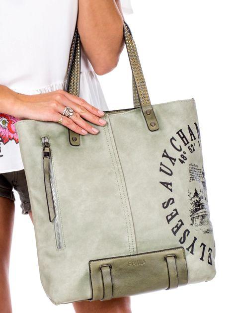 Zielona torba z nadrukiem                               zdj.                              2