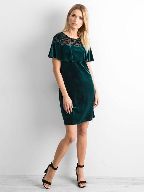 Zielona welurowa sukienka z falbaną                              zdj.                              4
