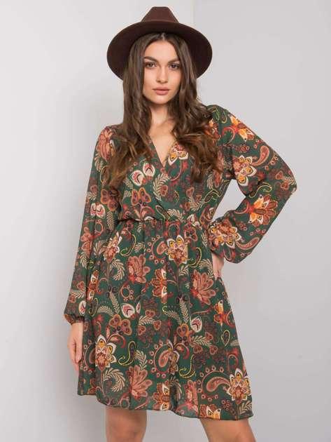 Zielona wzorzysta sukienka Yanika RUE PARIS