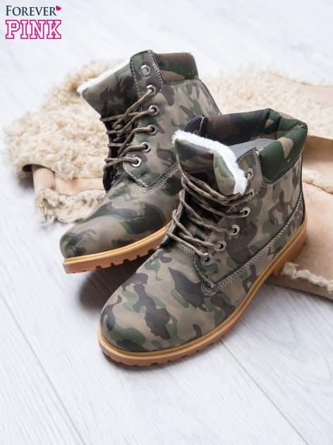 Zielone buty trekkingowe damskie moro traperki ocieplane                                  zdj.                                  2