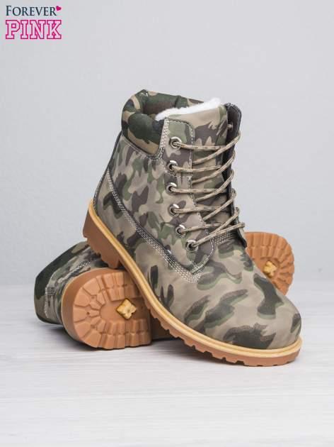Zielone buty trekkingowe damskie moro traperki ocieplane                                  zdj.                                  4