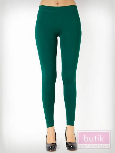 Zielone gładkie legginsy bawełniane                                  zdj.                                  3