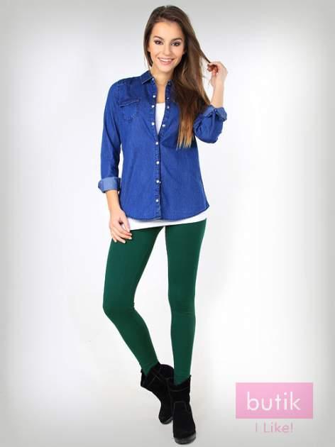 Zielone gładkie legginsy bawełniane                                  zdj.                                  1