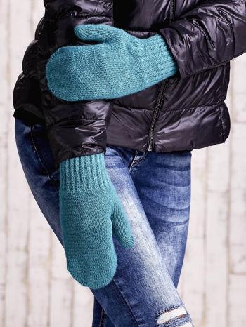 Zielone gładkie rękawiczki z jednym palcem                                  zdj.                                  1