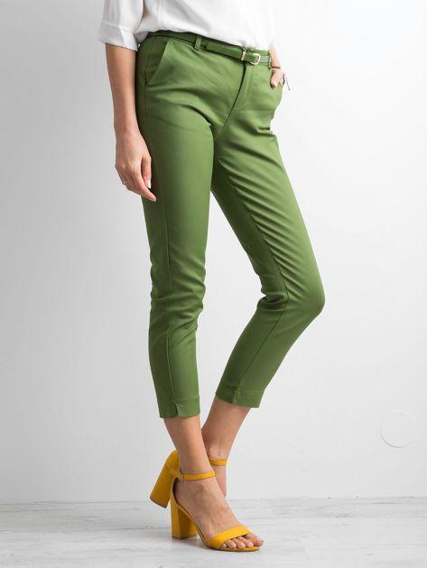Zielone klasyczne spodnie 7/8                              zdj.                              3