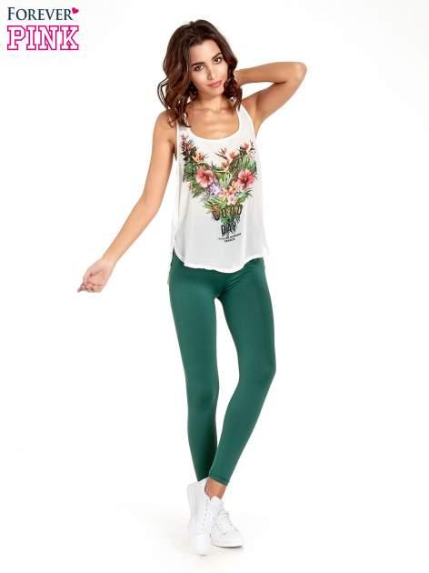 Zielone legginsy basic z lekkim ociepleniem                                  zdj.                                  8