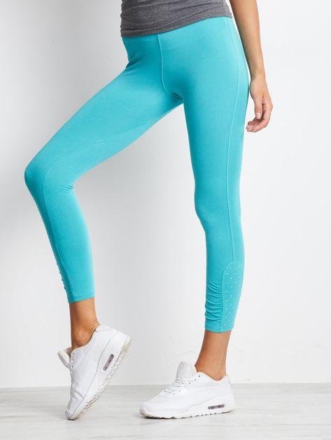Zielone legginsy sportowe z aplikacją z dżetów na nogawkach                                  zdj.                                  4