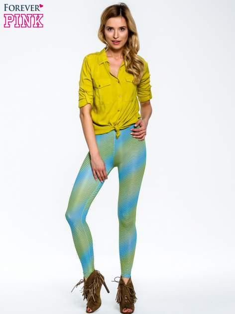 Zielone legginsy w modelujące paski                                  zdj.                                  4
