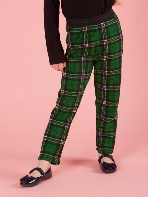 Zielone spodnie dziewczęce w kratę                              zdj.                              1