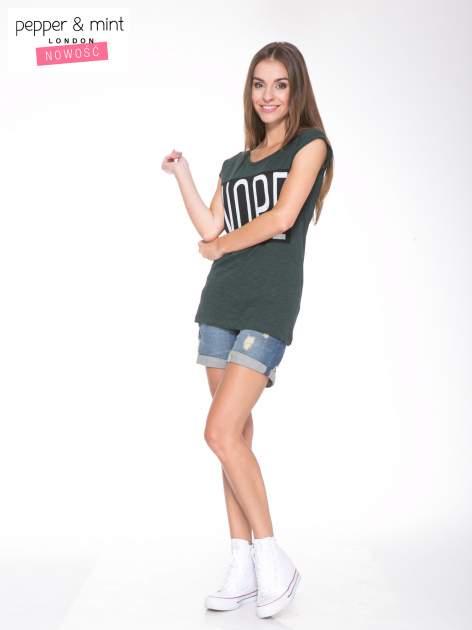 Zielone t-shirt z nadrukiem NOPE                                  zdj.                                  4