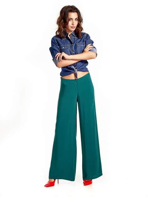 Zielone zwiewne spodnie typu palazzo                                  zdj.                                  2