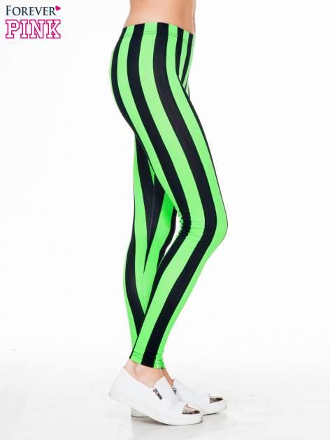 Zielono-czarne wyszczuplające legginsy w pionowe paski                                  zdj.                                  3