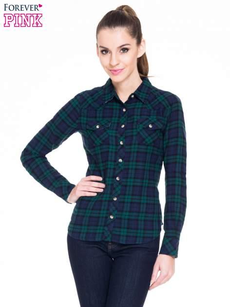 Zielono-granatowa koszula w kratę z kieszonkami