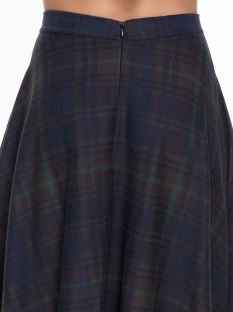 Zielono-granatowa kraciasta spódnica midi szyta z półkola                                  zdj.                                  6