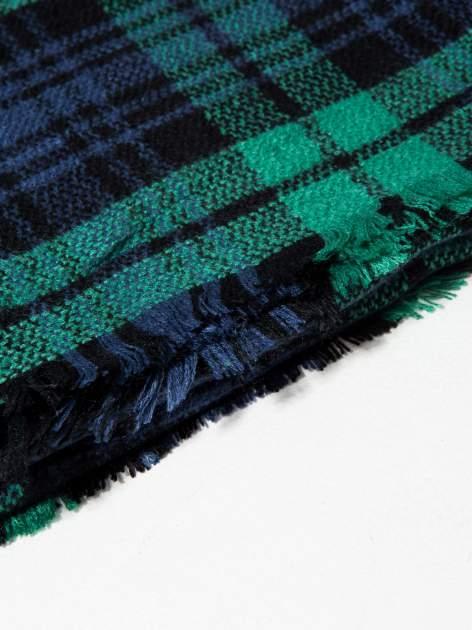 Zielono-granatowy szalik damski w kratę                                  zdj.                                  8