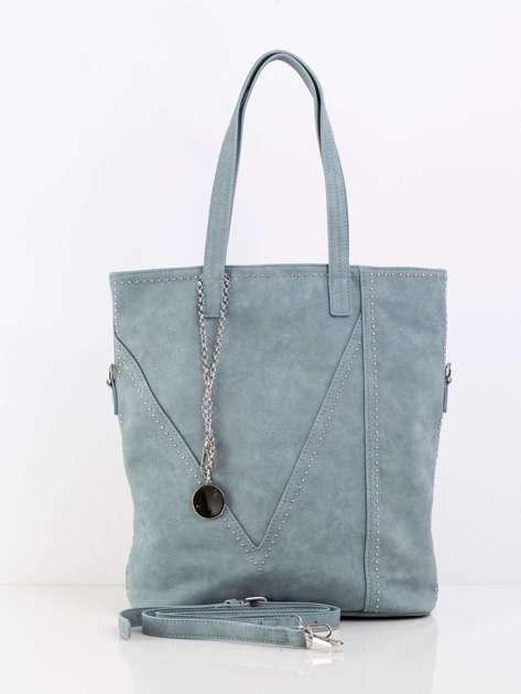Zielono-niebieska miejska torba z ćwiekami