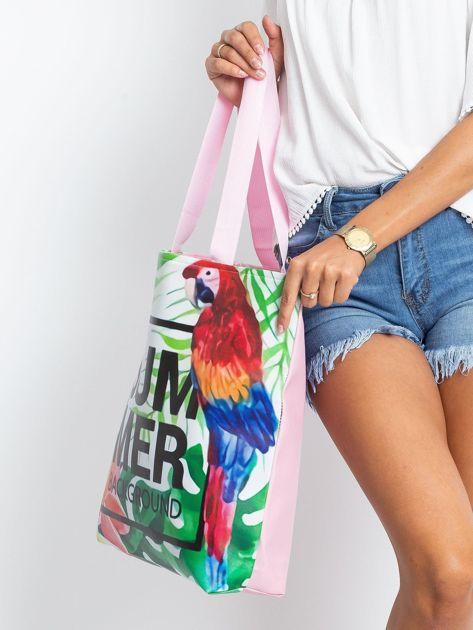 Zielono-różowa torba z egzotycznym nadrukiem                              zdj.                              3